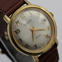 1970s Waltham Mens Swiss Made 17Jwl Automatic Calendar Gold Watch w/ Strap