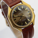 Waltham Men's Swiss Made Automatic 17Jwl Gold Calendar Interesting Dial Watch