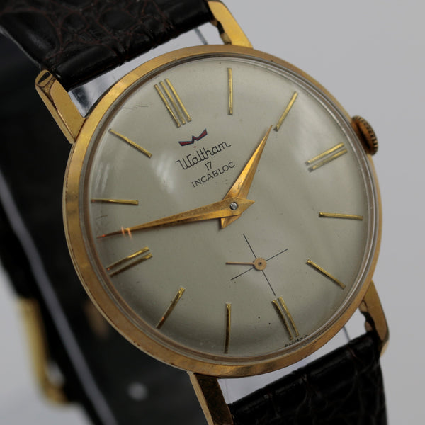 1950s Waltham Men's Swiss Made 17Jwl Gold Ultra Slim Watch w/ Strap