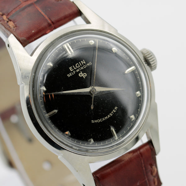1950s Elgin Men's Silver 17Jwl Swiss Made Watch w/ Aligator Strap - Mint