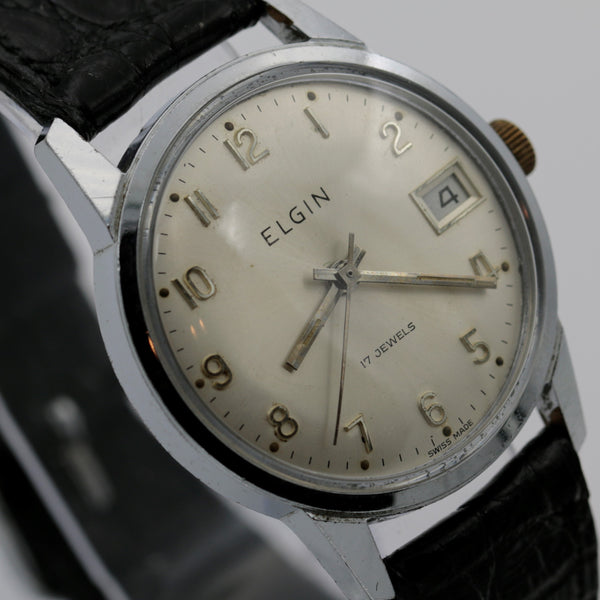 1960s Elgin Men's Silver 17Jwl Swiss Made Calendar Watch w/ Strap