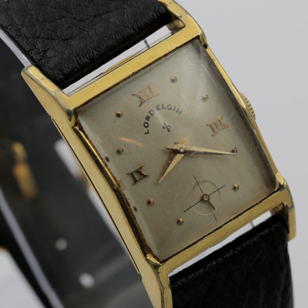1951 Lord Elgin Men's 14K Gold 21Jwl Made in USA Watch w/ Strap