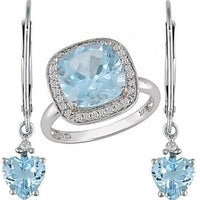 4ct Blue Topaz & Diamond Ring and Earrings Set in 14K White Gold