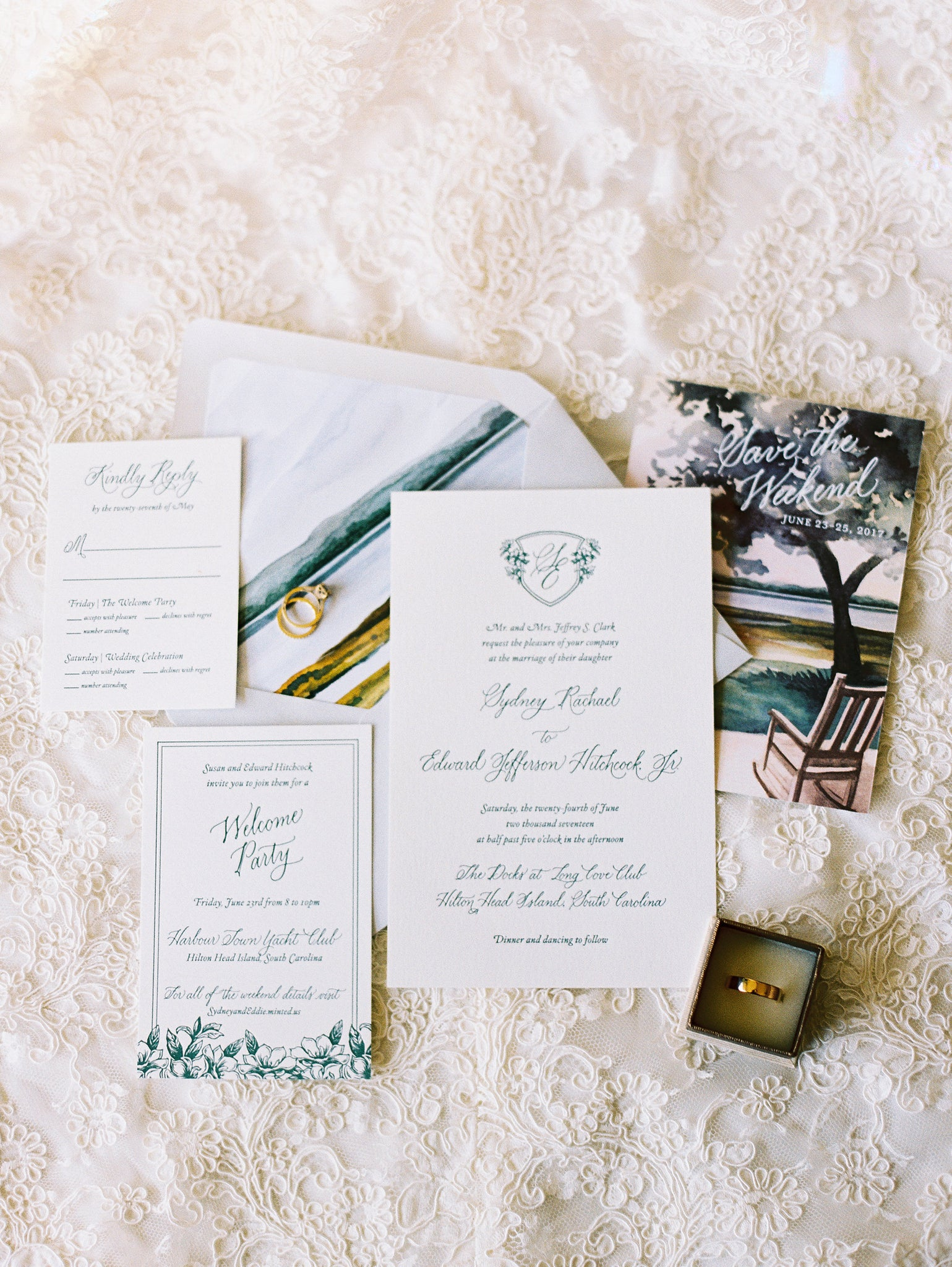 Celeste Four-Piece Suite with details card, marsh envelope liner, and custom illustration for the save the date