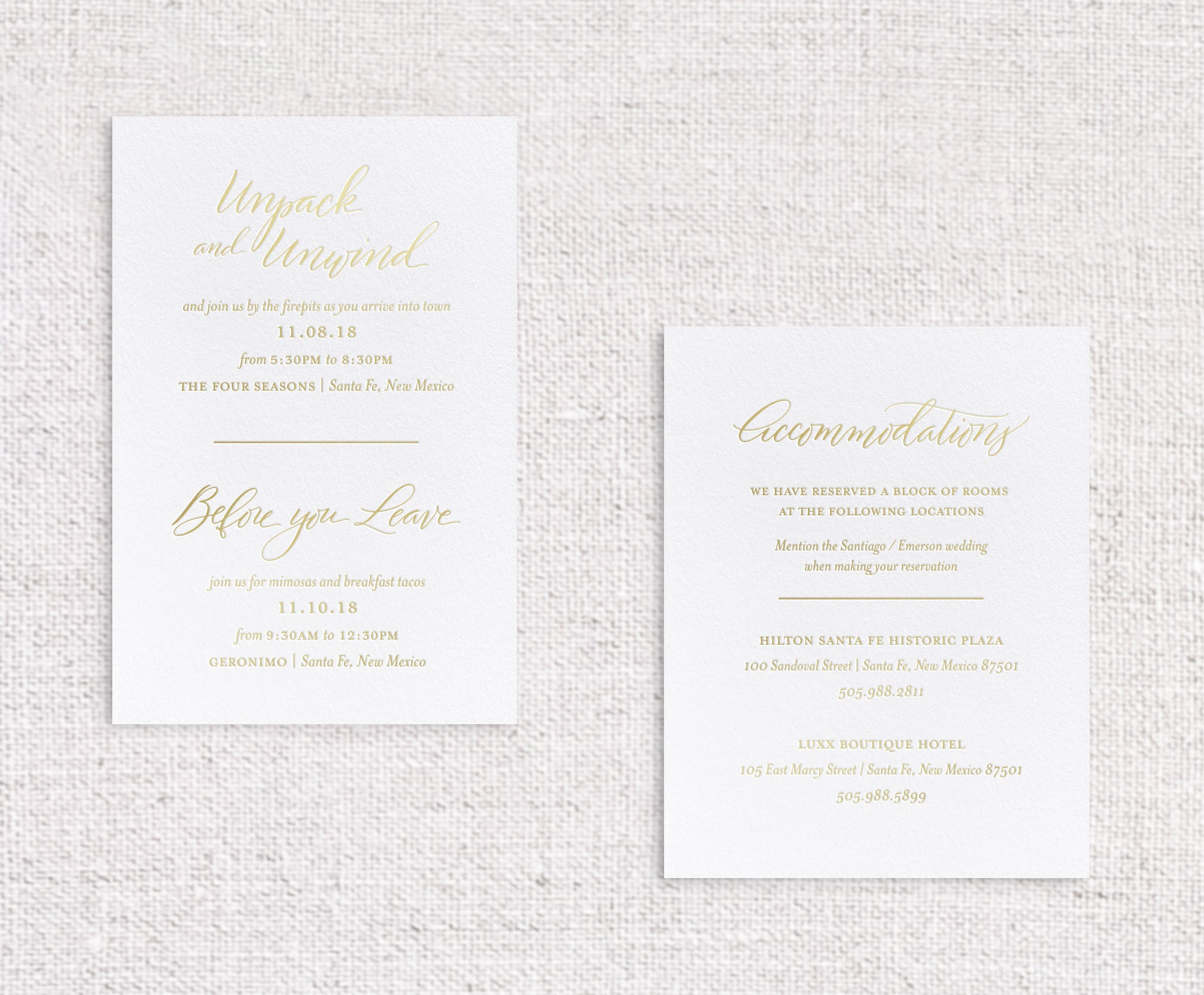 Antonia details cards foil stamped in champagne foil on white stock