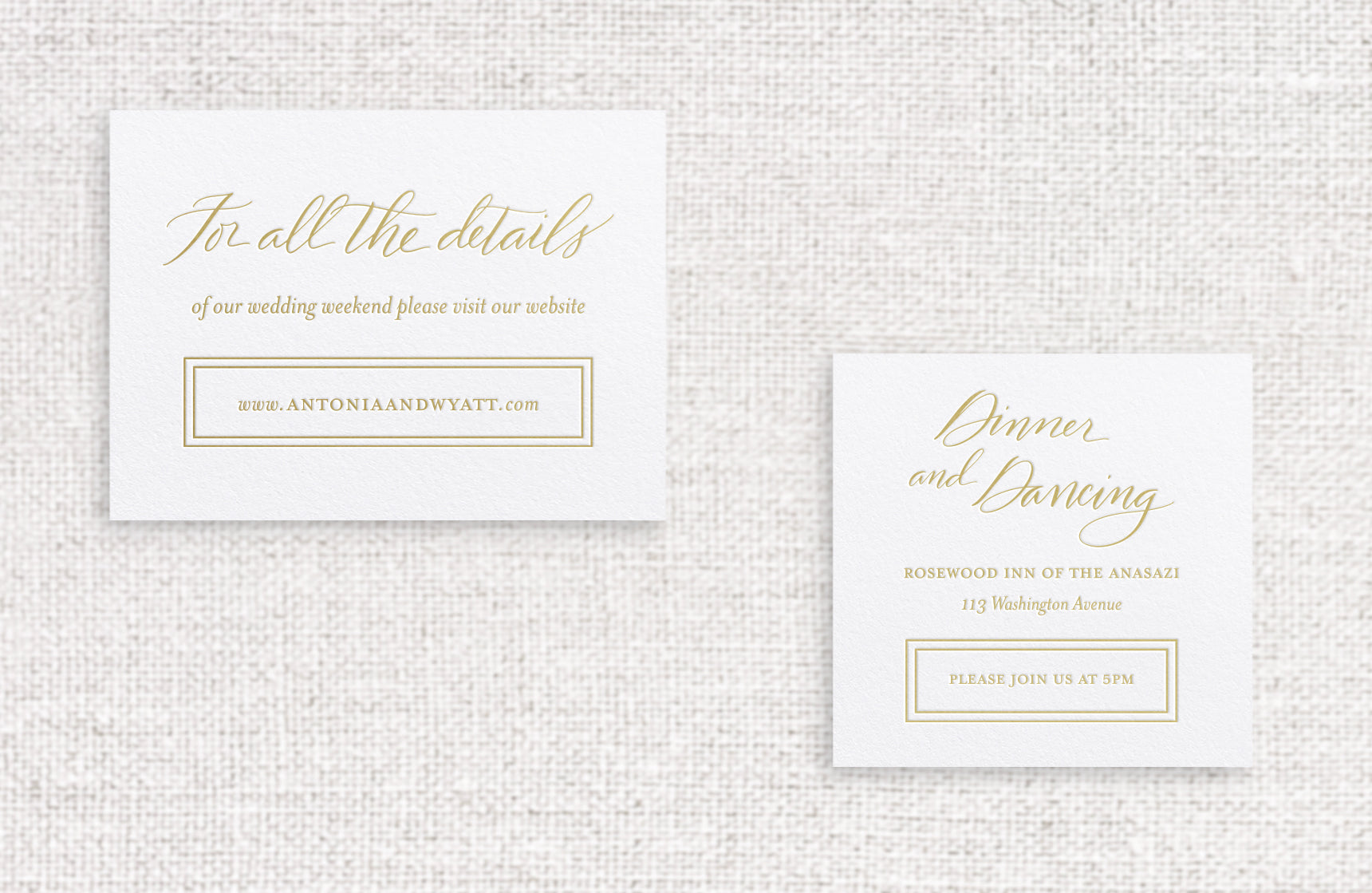 Antonia web or reception card foil stamped in champagne foil on white stock