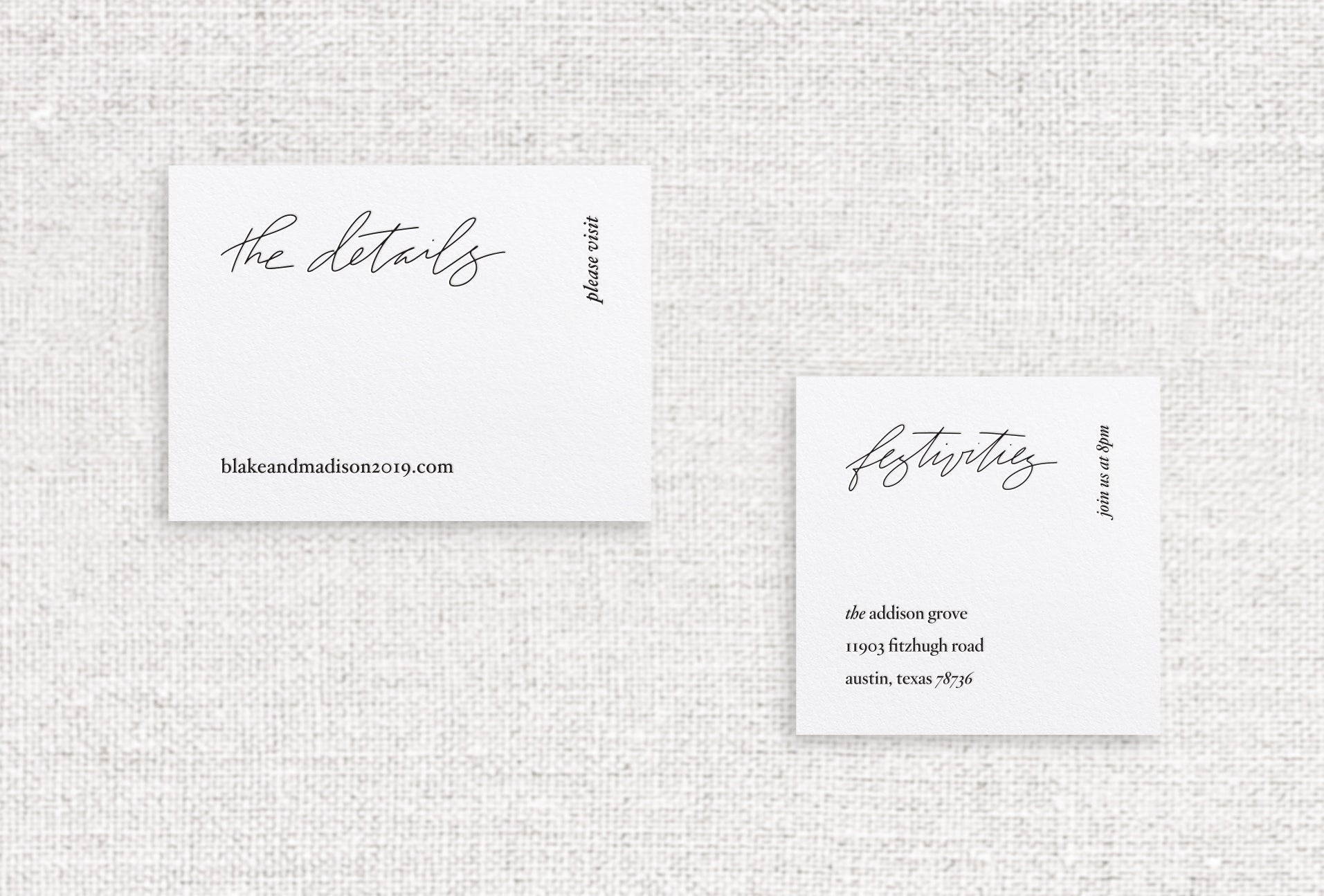 Blake web or reception card letterpressed in night ink on white stock