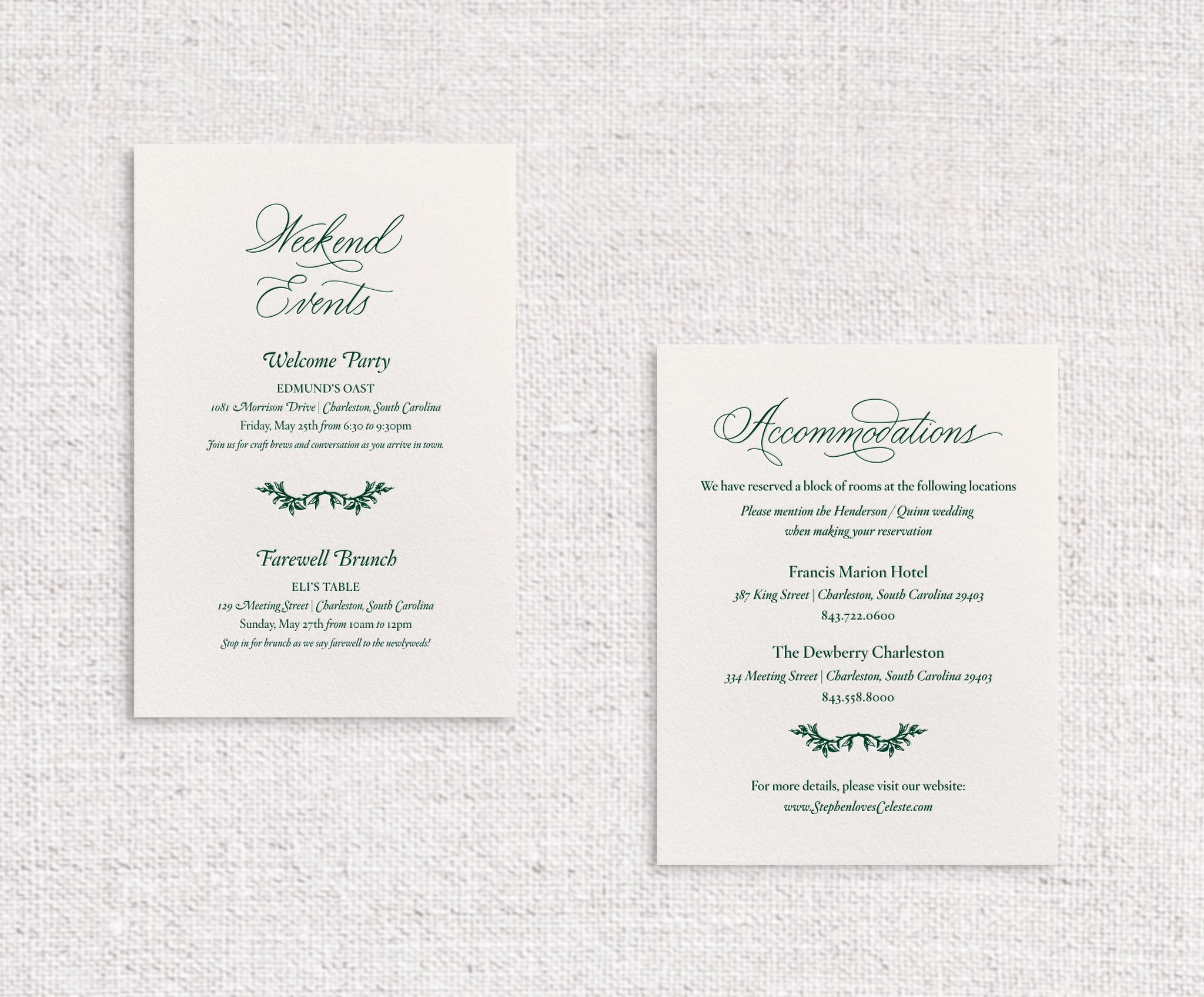 Celeste details cards letterpressed in lockwood ink on ivory stock