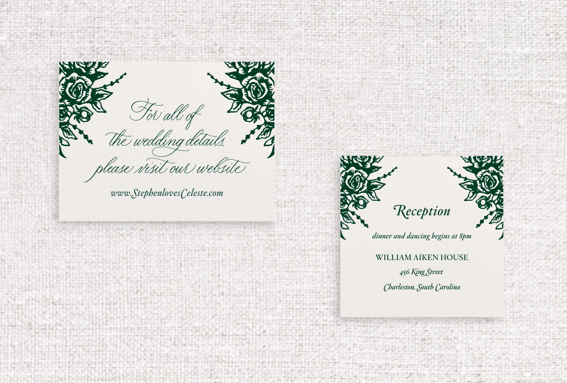 Celeste web or reception card letterpressed in lockwood ink on ivory stock