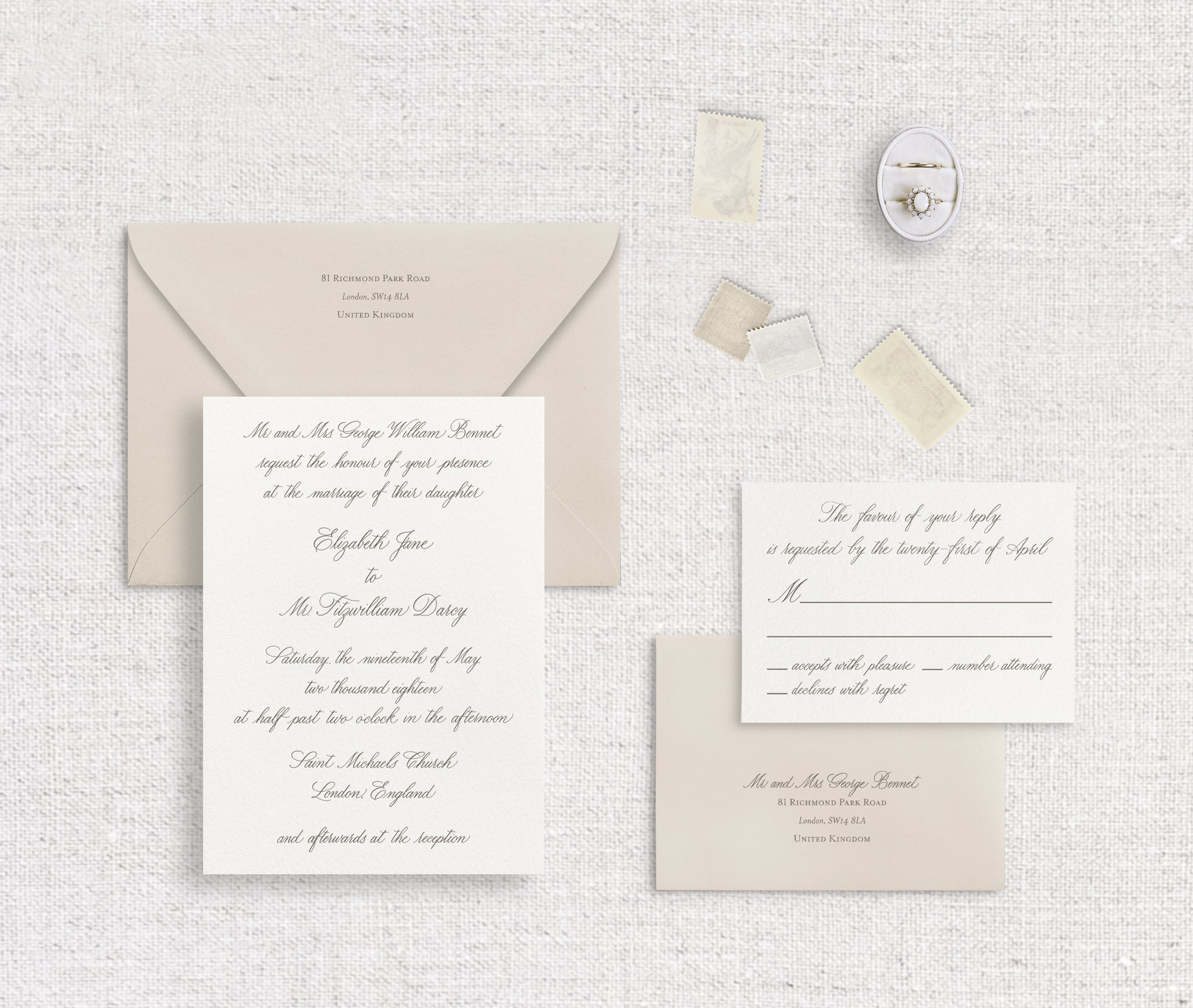 Elizabeth invitation and response card letterpressed in pewter ink on ivory stock with nude envelopes digitally printed in pewter ink