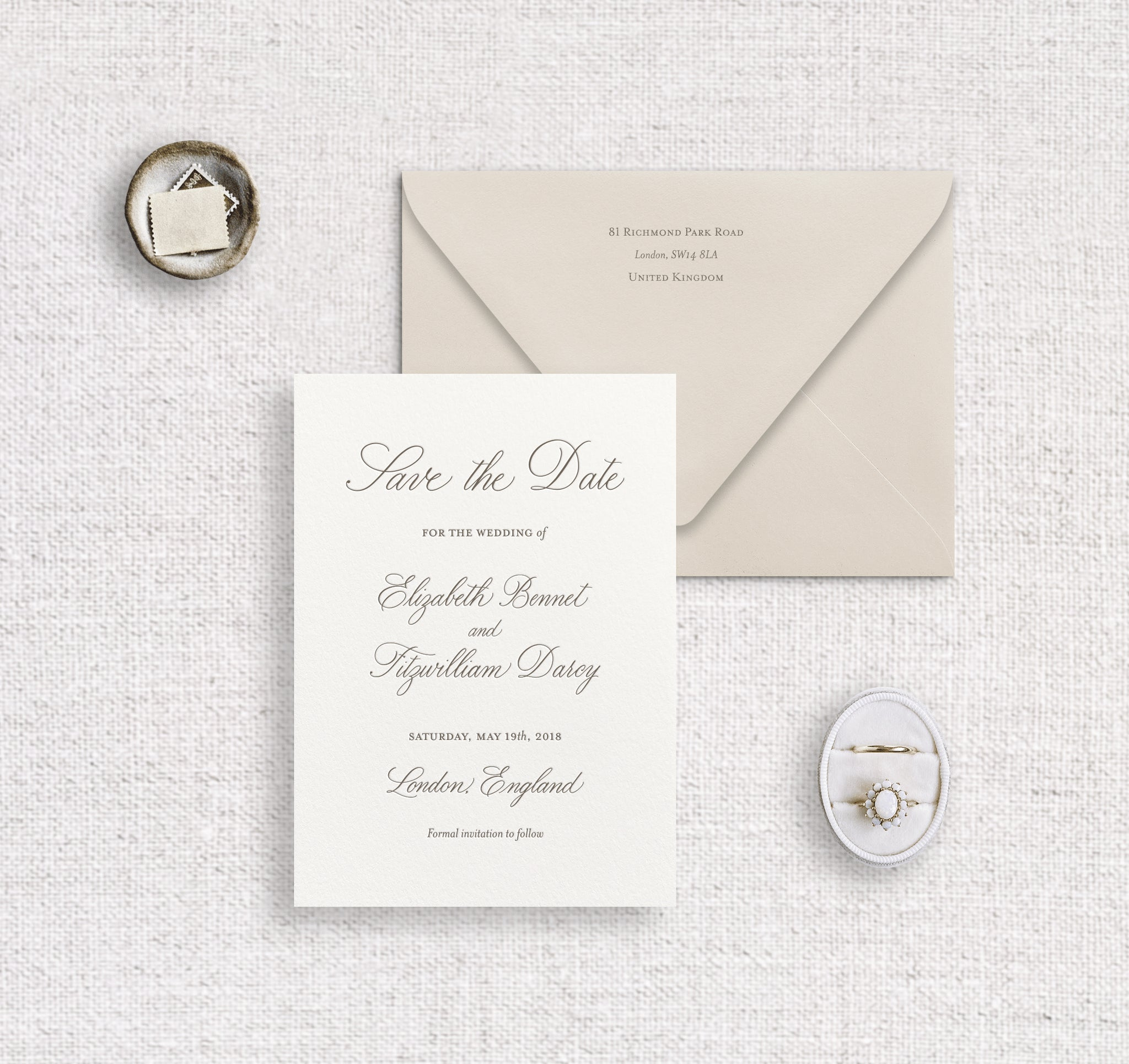Elizabeth save the date letterpressed on ivory stock with pewter ink and nude envelope digitally printed with pewter ink