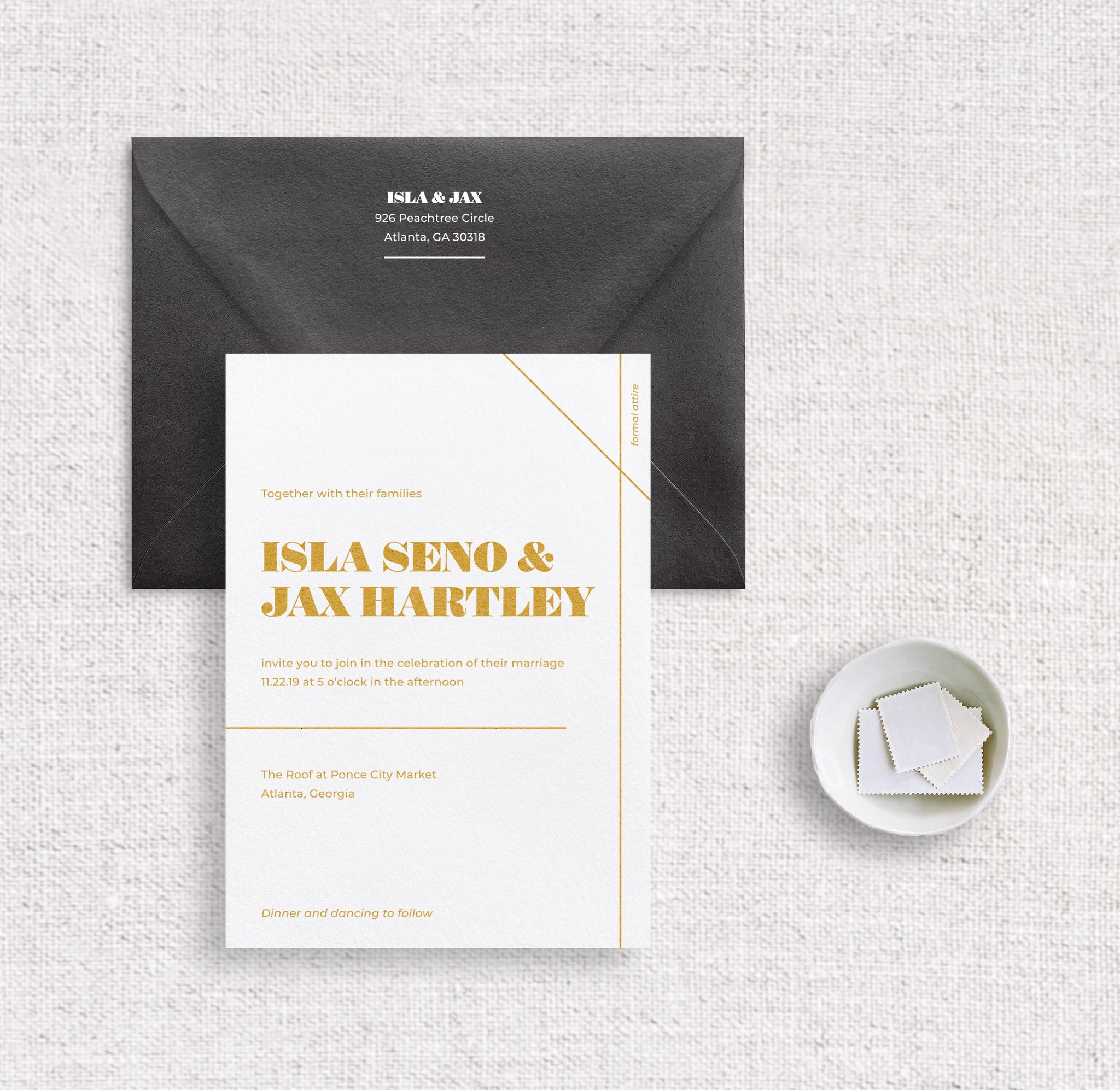 Isla invitation digitally printed on white stock in ochre ink and black envelope digitally printed in white ink