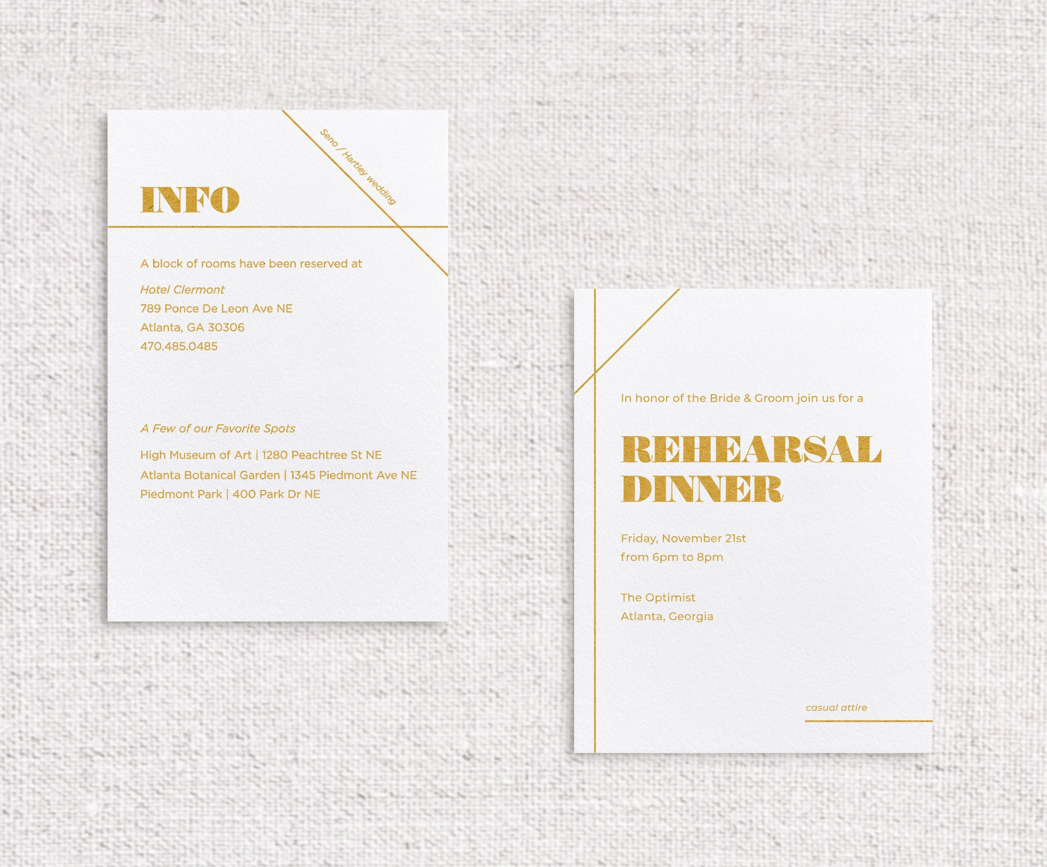 Isla details cards shown digitally printed with ochre ink on white stock