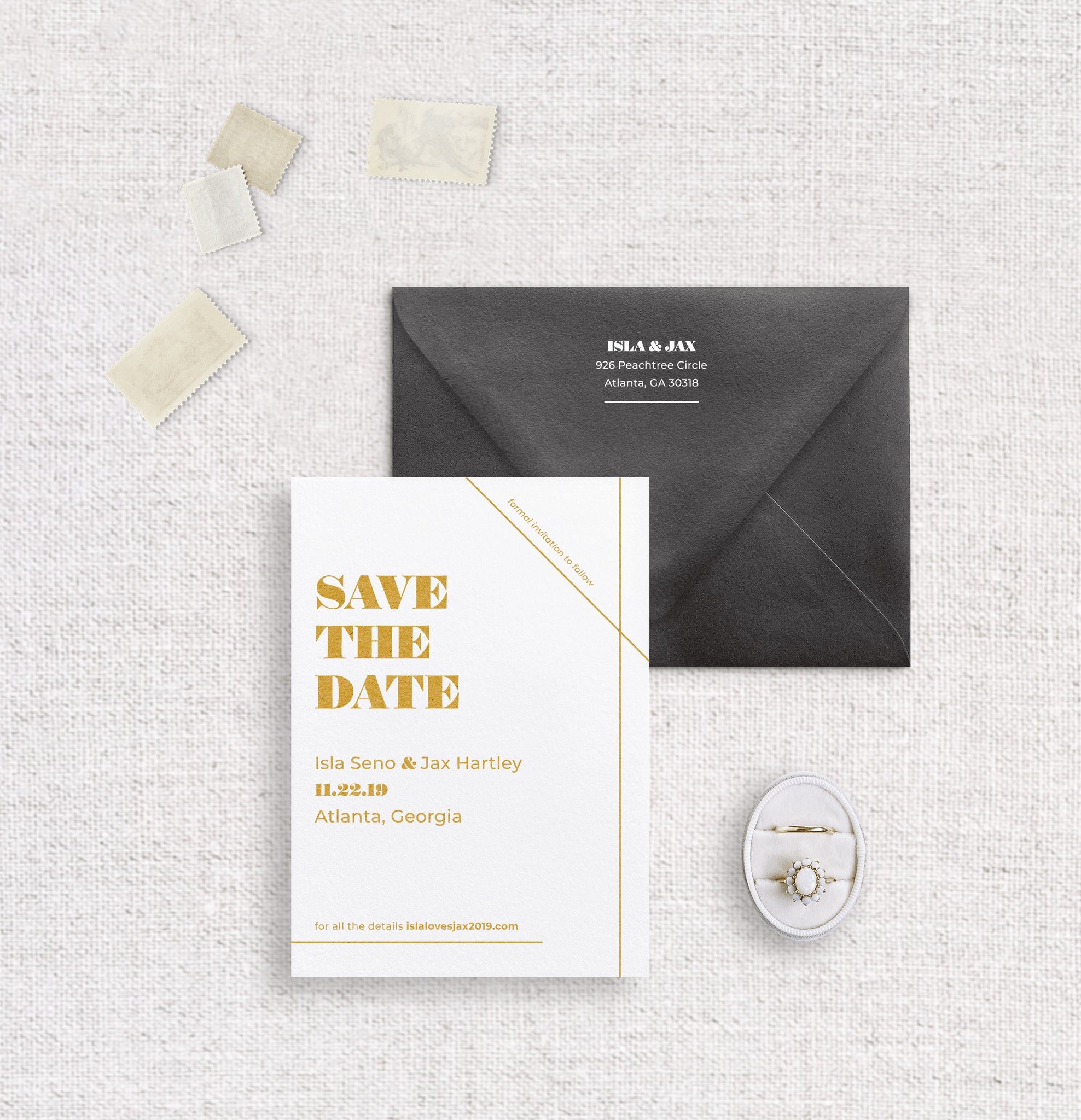 Isla save the date digitally printed on white stock with ochre ink and black envelope digitally printed with white ink