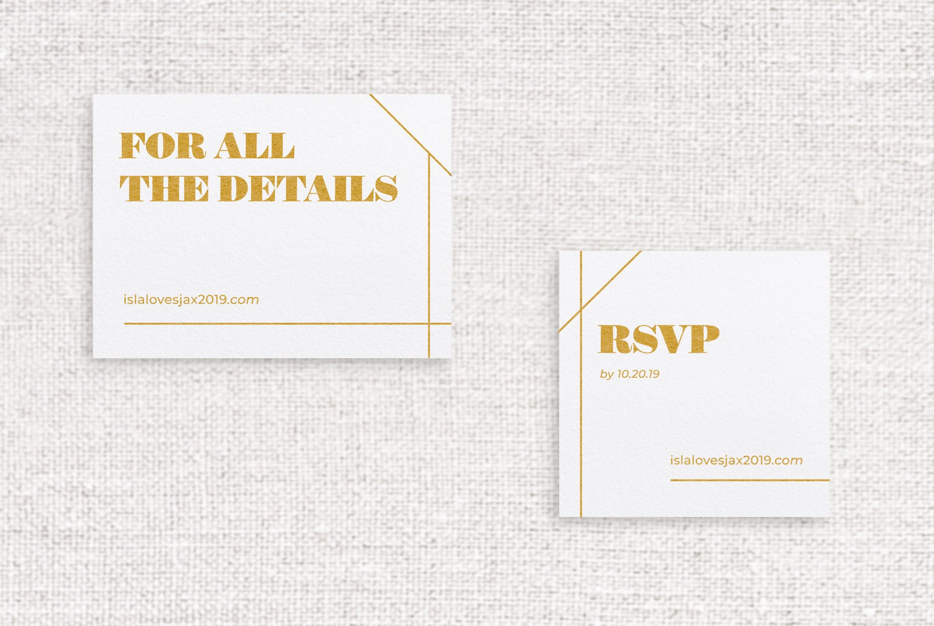 Isla web or reception card digitally printed in ochre ink on white stock