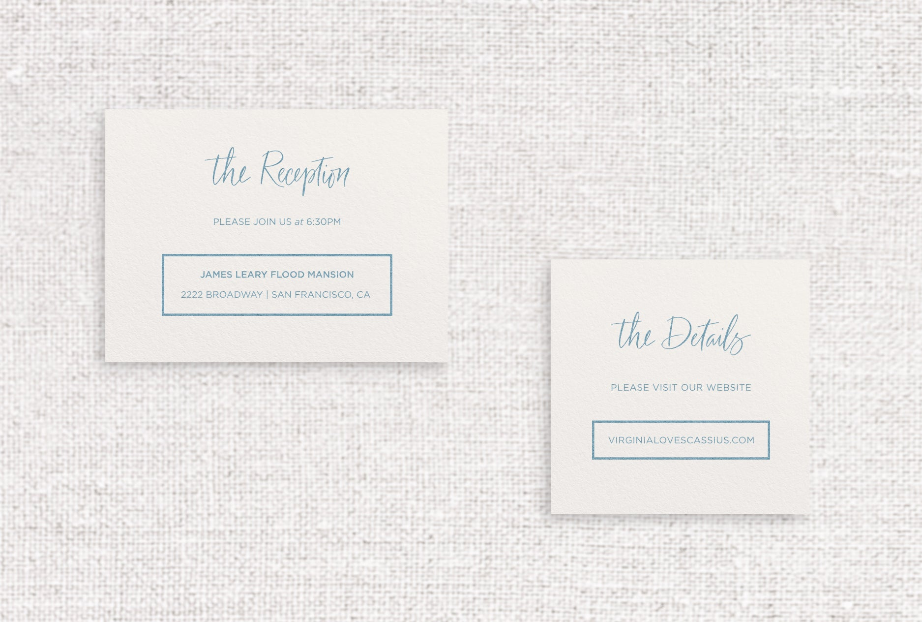 Virginia web or reception card digitally printed in slate ink on ivory stock