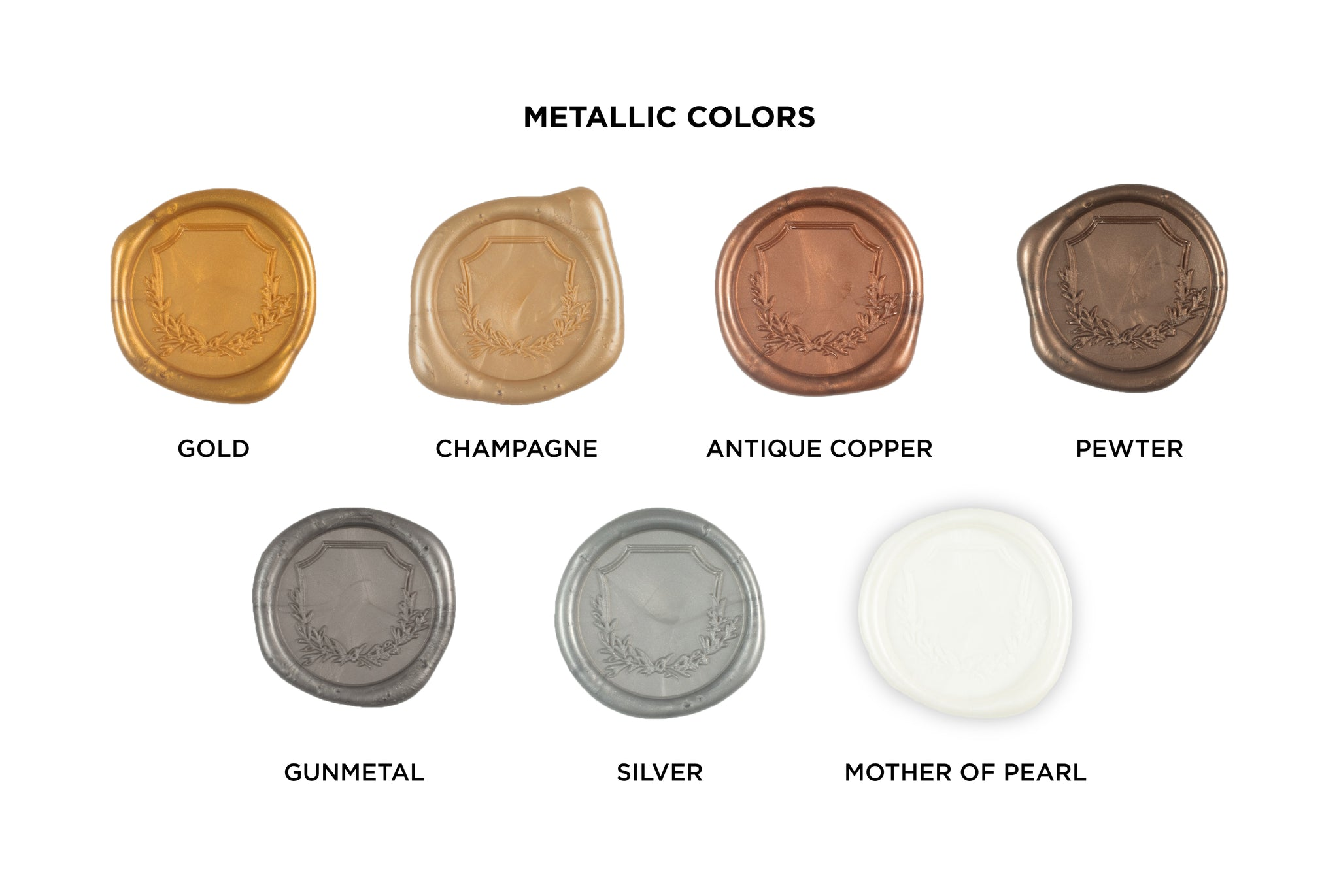 Wax Seal Metallic Colors. Gold, Champagne, Antique Copper, Pewter, Gunmetal, Silver, Mother of Pearl