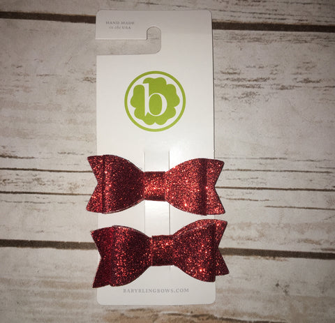 Red Sparkle Bow Tie Clips