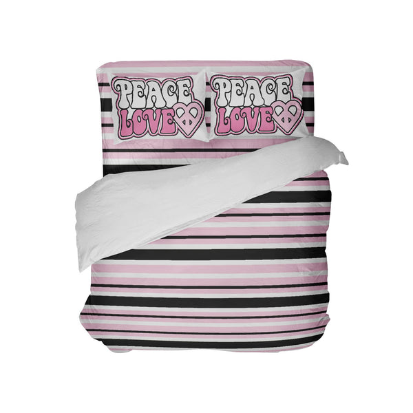 pink and black striped comforter with peace love pillowcases