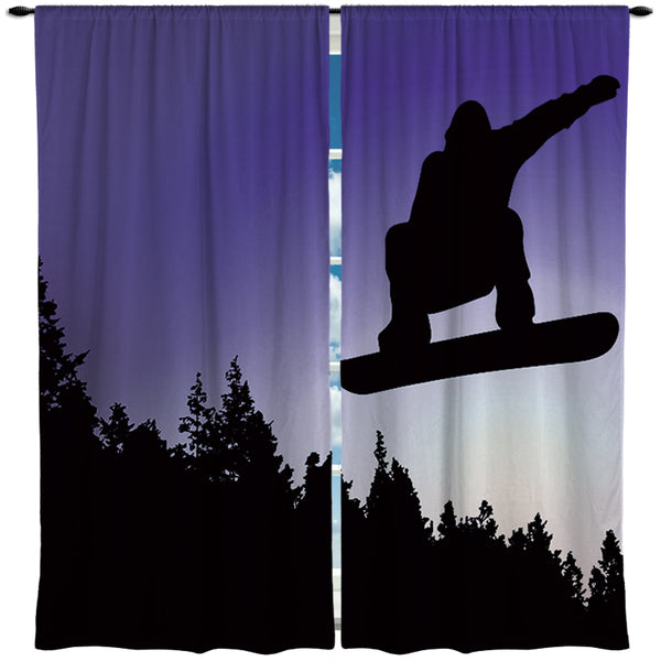 "Snowboard Window Curtains ""Big Air"" from Kids Bedding Company"