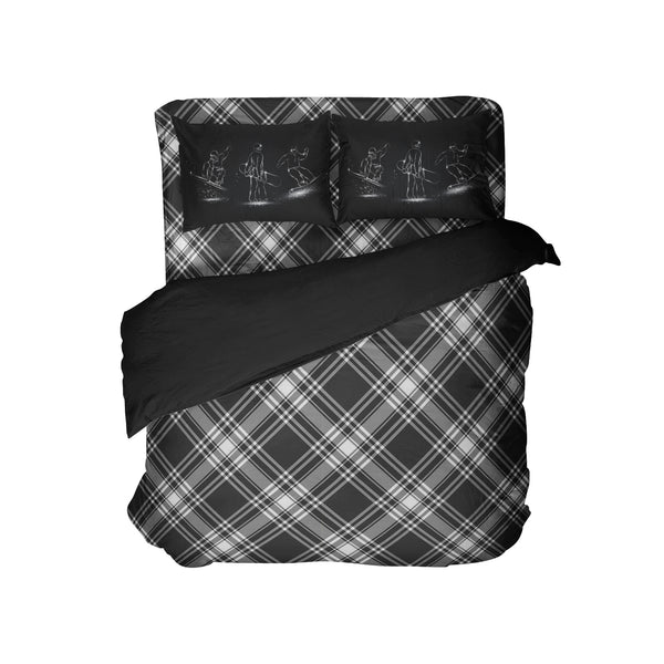 Black and White Plaid Comforter Set with Snowboard Pillowcases from Kids Bedding Company