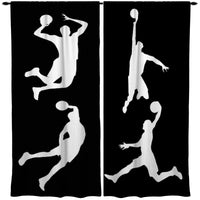 BLACK AND WHITE BASKETBALL WINDOW CURTAINS FROM KIDS BEDDING COMPANY