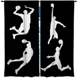 KIDS BLACK AND WHITE BASKETBALL WINDOW CURTAINS
