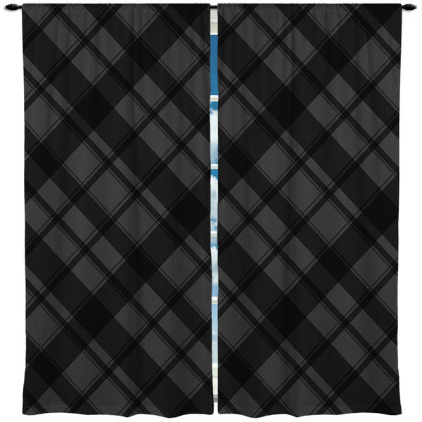 BLACK AND GRAY PLAID WINDOW CURTAINS