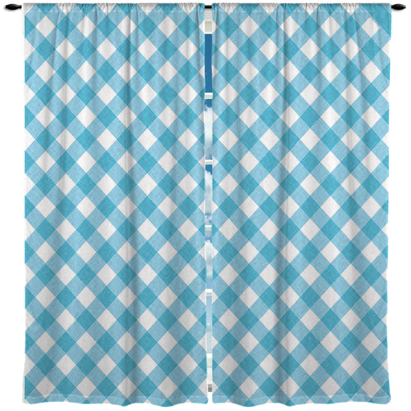 BLUE GINGHAM CURTAINS FROM KIDS BEDDING COMPANY