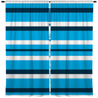 BLUE AND WHITE BEACH STRIPE CURTAINS