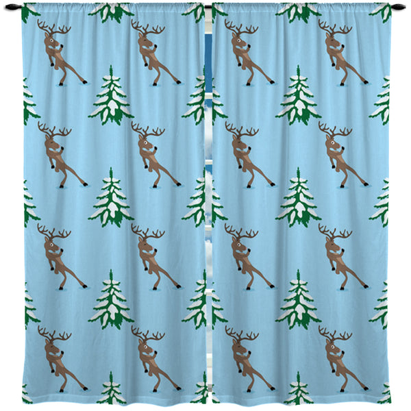 REINDEER AND CHRISTMAS TREES WINDOW CURTAINS