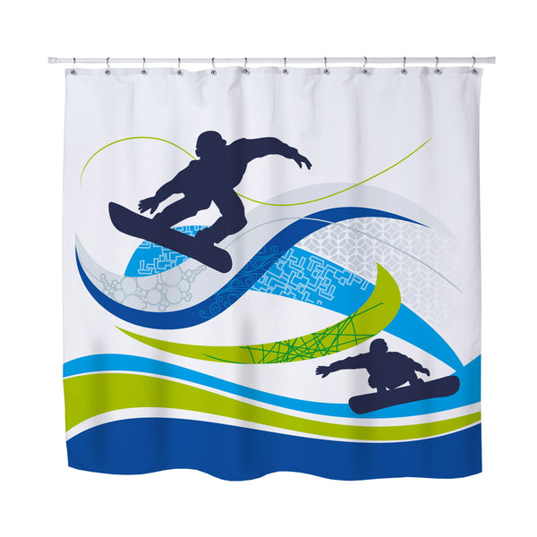 kids and teen snowboard shower curtain