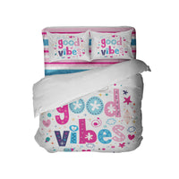 GOOD VIBES COMFORTER SET WITH BEACH STRIPE SHEET SET FROM KIDS BEDDING COMPANY