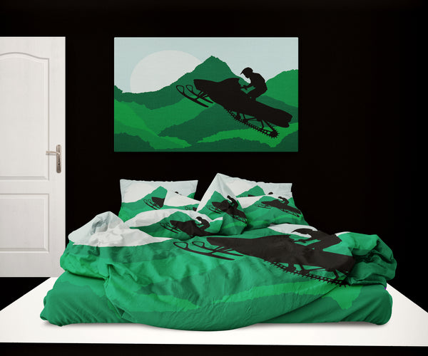 Kids Snowmobile Rider Comforter Set in Green from Kids Bedding Company