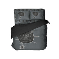 Kids Halloween Comforter Set with Cute Spider on Web from Kids Bedding Company