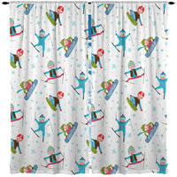 KIDS SNOWBOARD AND SKI WINDOW CURTAINS