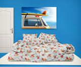 SURFER GIRL BEDDING SET SHOWN IN BEDROOM FROM KIDS BEDDING COMPANY