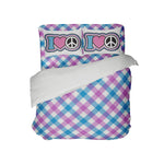 KIDS PREPPY GINGHAM COMFORTER WITH I LOVE PEACE PILLOWCASES