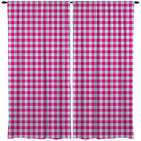 Preppy Pink and Blue Gingham Window Treatments from Kids Bedding Company