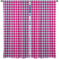 Preppy Pink and Blue Gingham Window Curtains from Kids Bedding Company