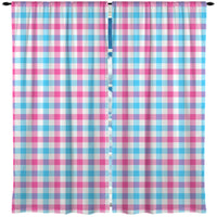 GIRLS PINK AND BLUE GINGHAM WINDOW CURTAINS FROM KIDS BEDDING COMPANY