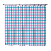 GIRLS PINK AND BLUE PLAID CHECK GINGHAM SHOWER CURTAIN
