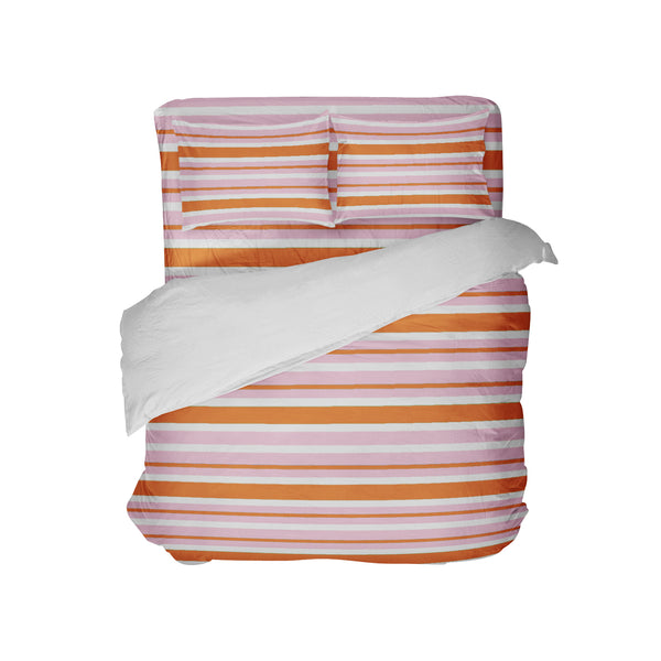 Preppy Kids Orange and Pink Stripes Duvet Cover Set from Kids Bedding Company