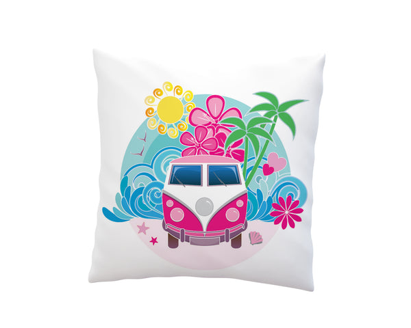 PINK BEACH BUS THROW PILLOW COVER FROM KIDS BEDDING COMPANY