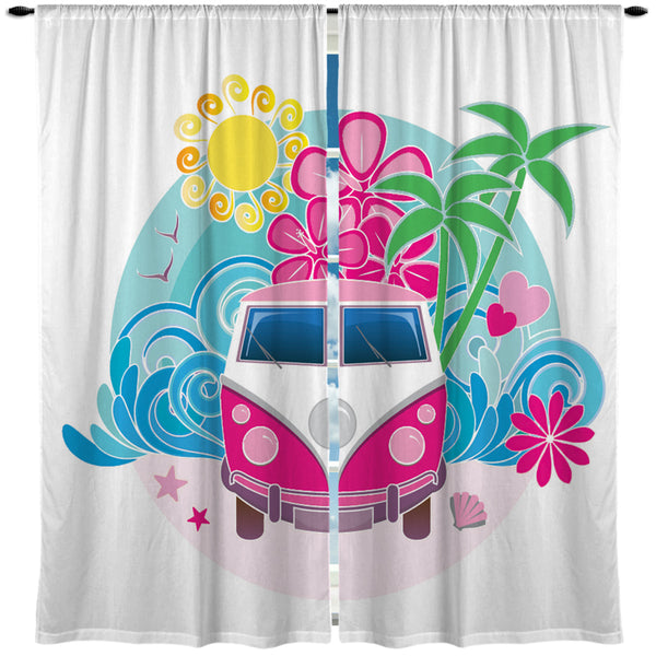 KIDS PINK VW BUS CURTAINS
