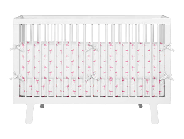 PREPPY PINK FLAMINGOS BABY CRIB BEDDING SET