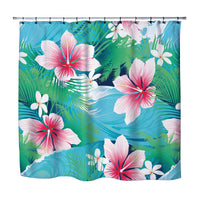PINK HIBISCUS TROPICAL SHOWER CURTAIN