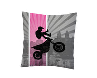 GIRLS PINK MOTOCROSS THROW PILLOW COVER FROM KIDS BEDDING COMPANY