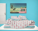 PINK SURFBOARDS COMFORTER WITH BEACH STRIPE SHEET SET FROM KIDS BEDDING COMPANY