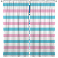 PINK AND BLUE BEACH STRIPES CURTAINS